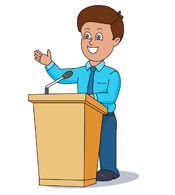 man giving speech clipart